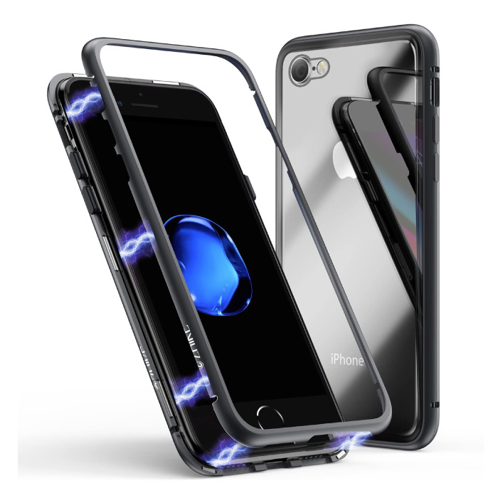iPhone 8 Plus Magnetic 360 ° Case with Tempered Glass - Full Body Cover Case + Black Screen Protector
