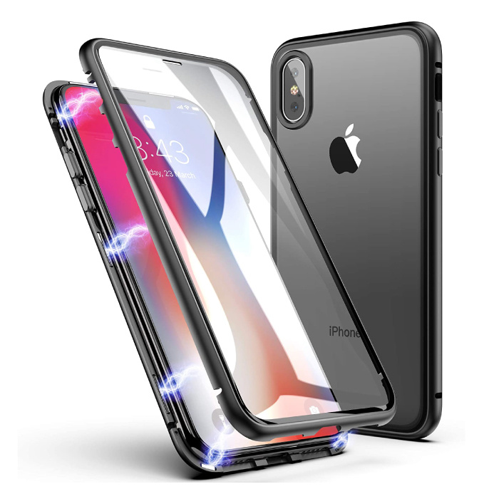 iPhone XS Magnetic 360 ° Case with Tempered Glass - Full Body Cover Case + Black Screen Protector