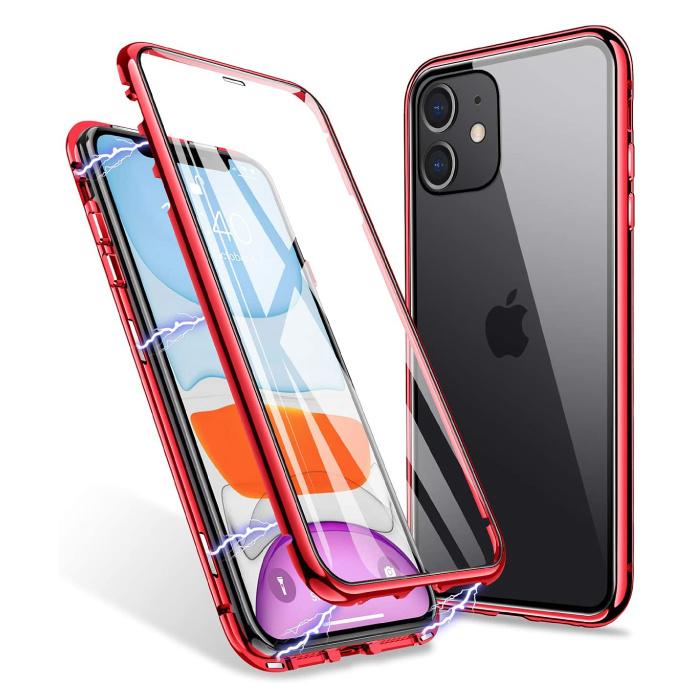 iPhone 11 Magnet 360 ° Hülle mit gehärtetem Glas - Ganzkörperhülle + Displayschutz Rot