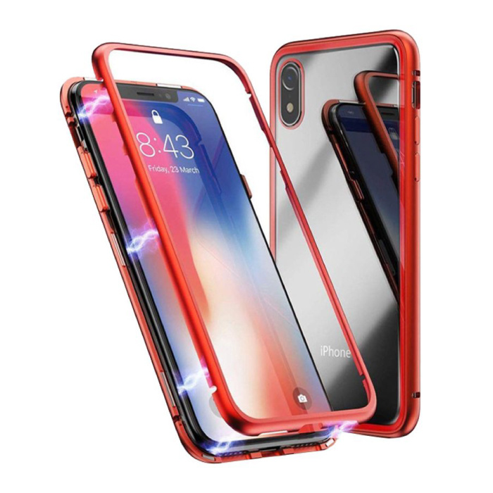 iPhone XR Magnetisch 360° Hoesje met Tempered Glass - Full Body Cover Hoesje + Screenprotector Rood