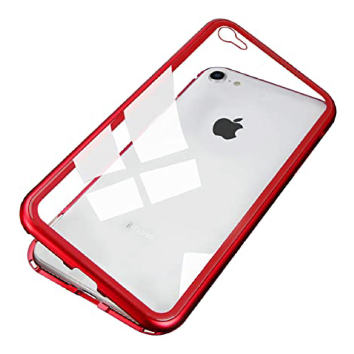 iPhone 6 Plus Magnetic 360 ° Case with Tempered Glass - Full Body Cover Case + Screen Protector Red