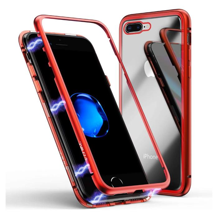 iPhone 8 Plus Magnet 360 ° Hülle mit gehärtetem Glas - Ganzkörperhülle + Displayschutz Rot