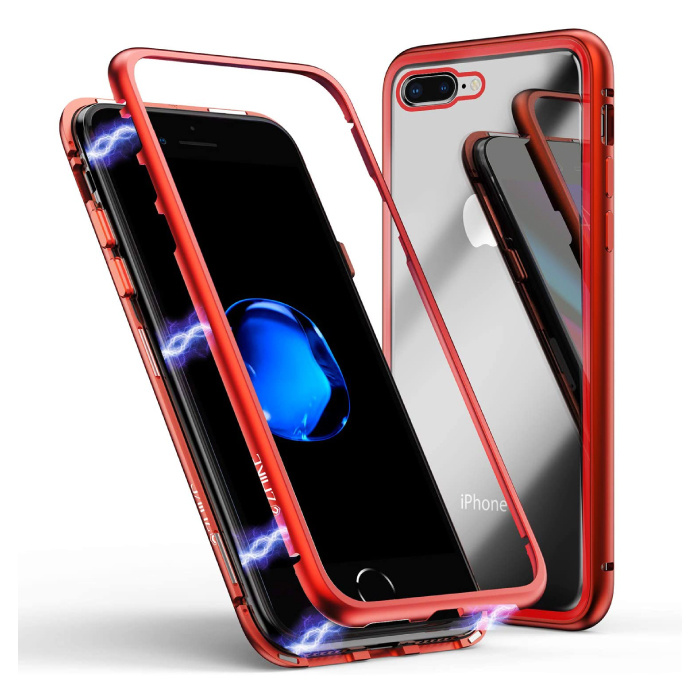 iPhone 8 Magnetic 360 ° Case with Tempered Glass - Full Body Cover Case + Screen Protector Red
