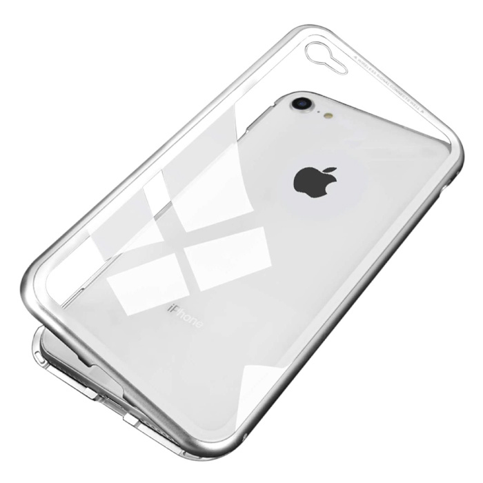 iPhone 6 Plus Magnetisch 360° Hoesje met Tempered Glass - Full Body Cover Hoesje + Screenprotector Wit
