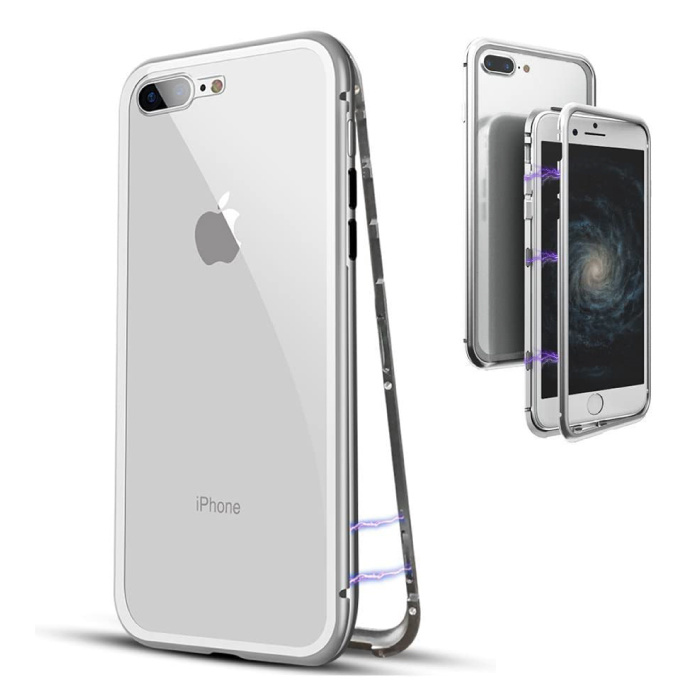 iPhone 8 Plus Magnetisch 360° Hoesje met Tempered Glass - Full Body Cover Hoesje + Screenprotector Wit