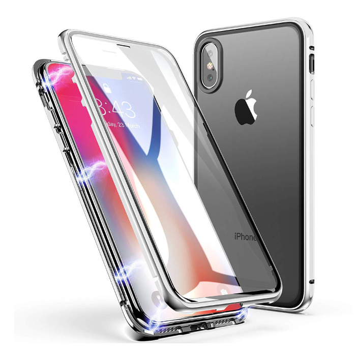 iPhone X  Magnetisch 360° Hoesje met Tempered Glass - Full Body Cover Hoesje + Screenprotector Wit