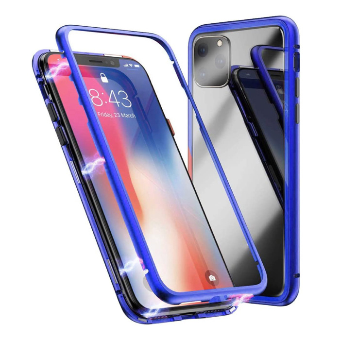 iPhone 11 Pro Max Magnetic 360 ° Case with Tempered Glass - Full Body Cover Case + Screen Protector Blue