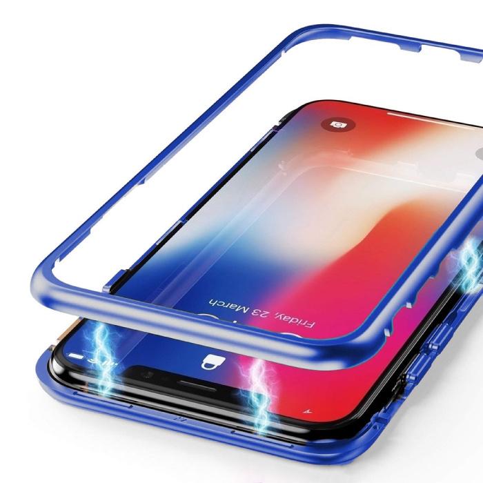 Coque Magnétique 360 ° iPhone XS avec Verre Trempé - Coque Intégrale + Protecteur d'écran Bleu