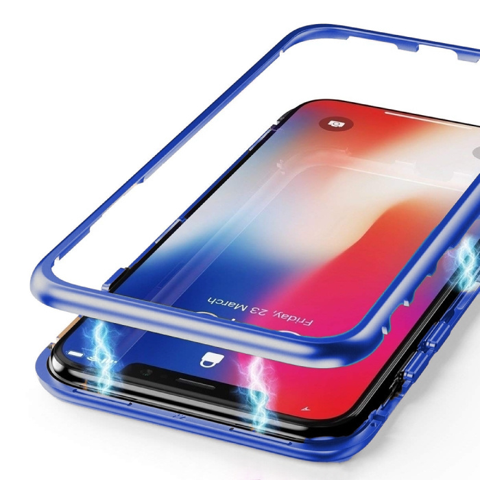 iPhone XS Magnetic 360 ° Case with Tempered Glass - Full Body Cover Case + Screen Protector Blue
