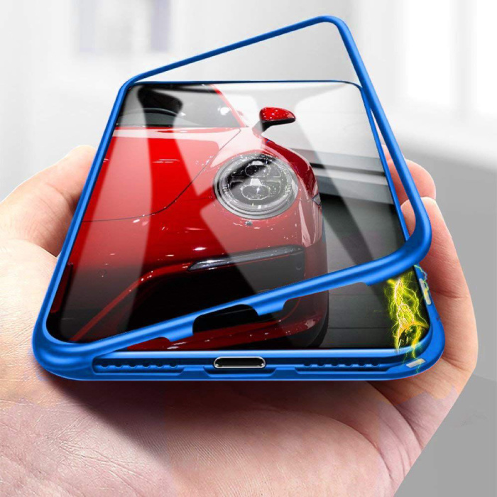 iPhone 8 Plus Magnetisch 360° Hoesje met Tempered Glass - Full Body Cover Hoesje + Screenprotector Blauw