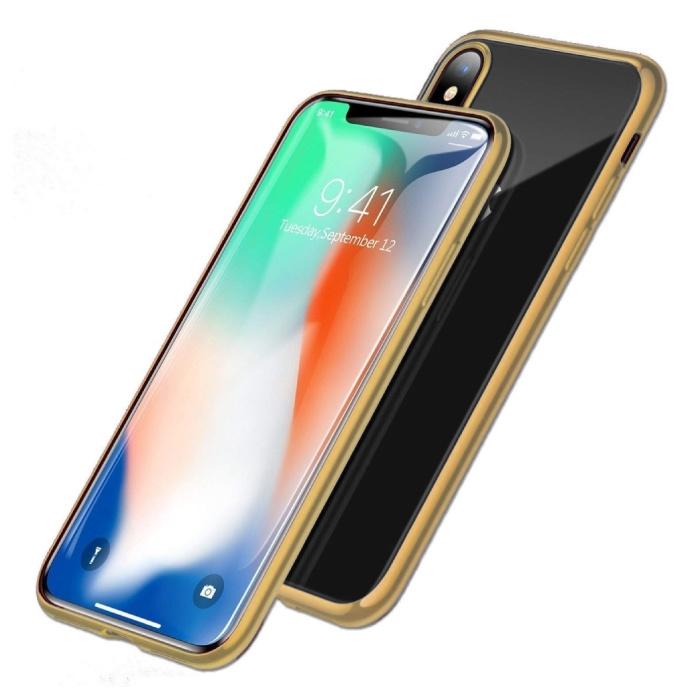 Coque Magnétique 360 ° iPhone X avec Verre Trempé - Coque Intégrale + Protecteur d'Écran Doré