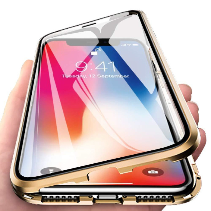 iPhone 6S Plus Magnetic 360 ° Case with Tempered Glass - Full Body Cover Case + Screen Protector Gold