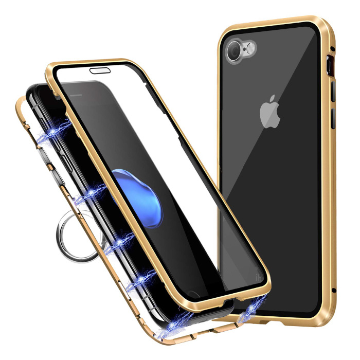 iPhone 8 Plus Magnet 360 ° Hülle mit gehärtetem Glas - Ganzkörperhülle + Displayschutzfolie Gold