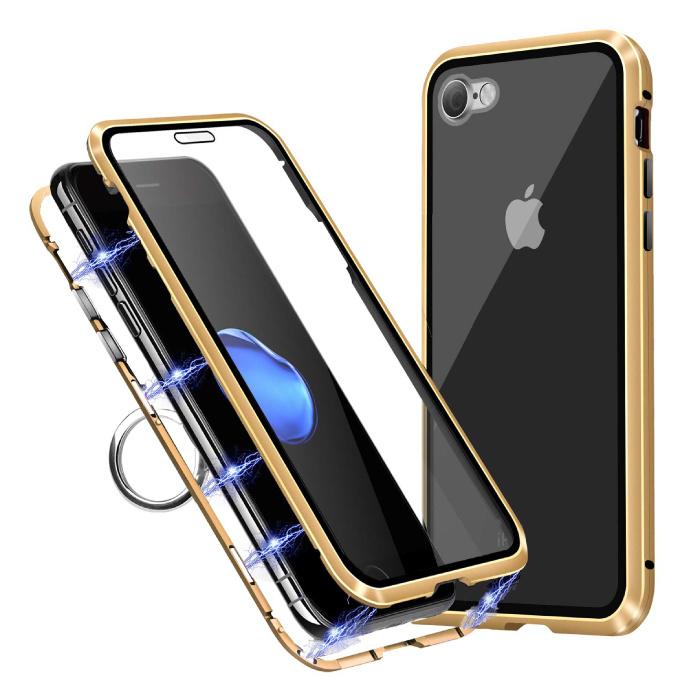iPhone 8 Magnet 360 ° Hülle mit gehärtetem Glas - Ganzkörperhülle + Displayschutzfolie Gold