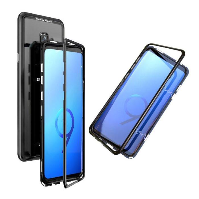 Samsung Galaxy S9 Plus Magnetisch 360° Hoesje met Tempered Glass - Full Body Cover Hoesje + Screenprotector Zwart