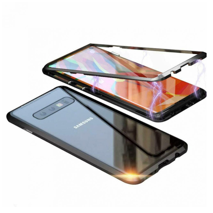 Samsung Galaxy S10 Plus Magnetisch 360° Hoesje met Tempered Glass - Full Body Cover Hoesje + Screenprotector Zwart