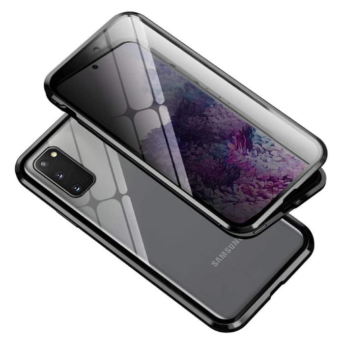 Samsung Galaxy S20 Magnetisch 360° Hoesje met Tempered Glass - Full Body Cover Hoesje + Screenprotector Zwart