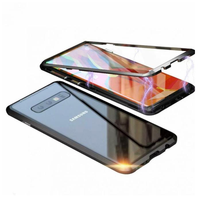 Samsung Galaxy Note 8 Magnetisch 360° Hoesje met Tempered Glass - Full Body Cover Hoesje + Screenprotector Zwart