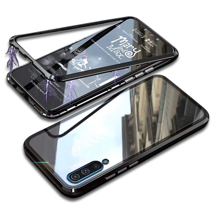 Samsung Galaxy A30 Magnetisch 360° Hoesje met Tempered Glass - Full Body Cover Hoesje + Screenprotector Zwart