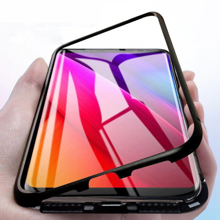 Samsung Galaxy A8 2018 Magnetisch 360° Hoesje met Tempered Glass - Full Body Cover Hoesje + Screenprotector Zwart