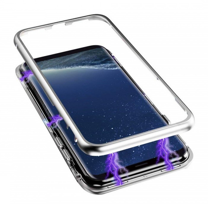 Samsung Galaxy A8 2018 Magnetisch 360° Hoesje met Tempered Glass - Full Body Cover Hoesje + Screenprotector Zilver