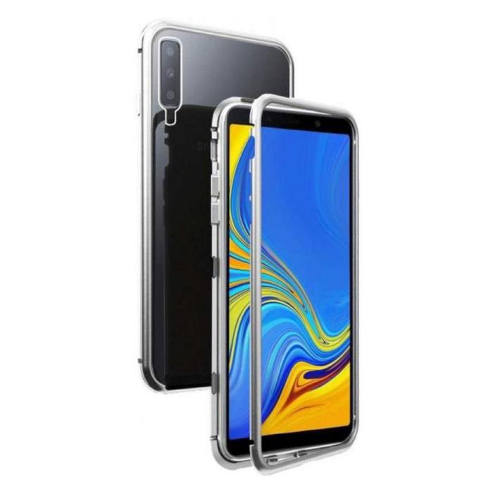 Samsung Galaxy A70 Magnetische 360 ° Hülle mit gehärtetem Glas - Ganzkörperhülle + Displayschutzfolie Silber