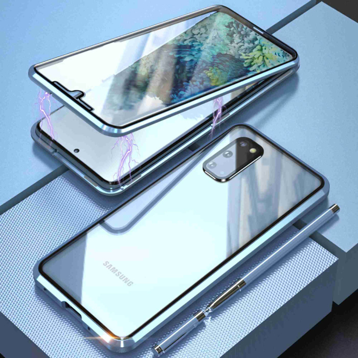 Samsung Galaxy S20 Magnetisch 360° Hoesje met Tempered Glass - Full Body Cover Hoesje + Screenprotector Zilver