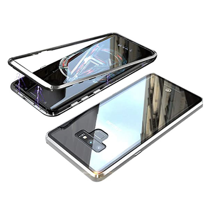 Samsung Galaxy S10 Plus Magnetisch 360° Hoesje met Tempered Glass - Full Body Cover Hoesje + Screenprotector Zilver
