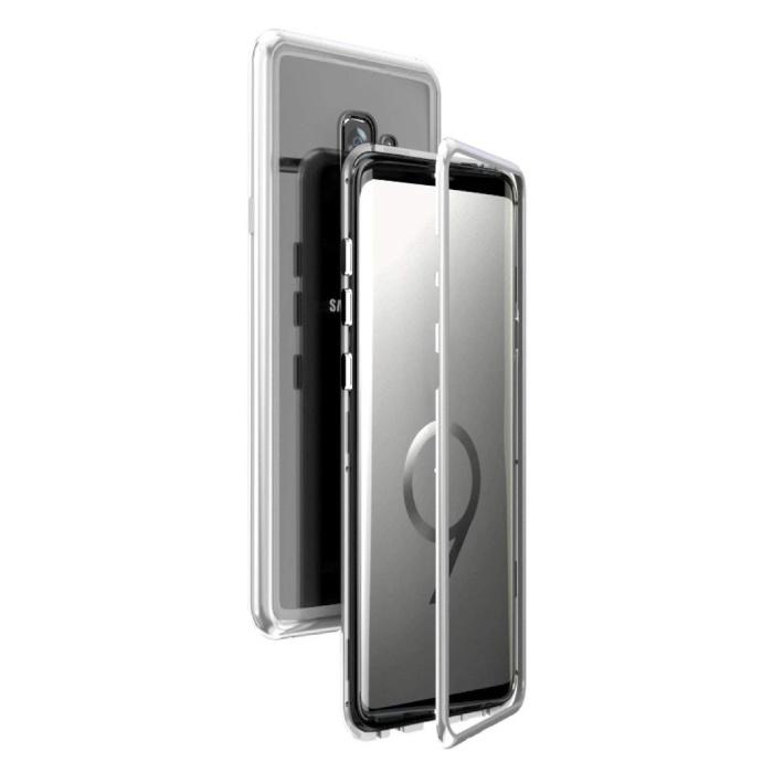 Samsung Galaxy S9 Plus Magnetisch 360° Hoesje met Tempered Glass - Full Body Cover Hoesje + Screenprotector Zilver