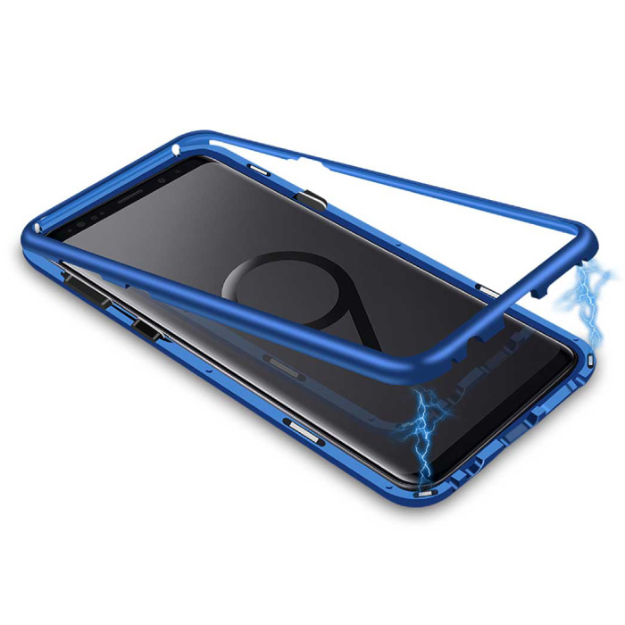 Samsung Galaxy S9 Plus Magnetisch 360° Hoesje met Tempered Glass - Full Body Cover Hoesje + Screenprotector Blauw