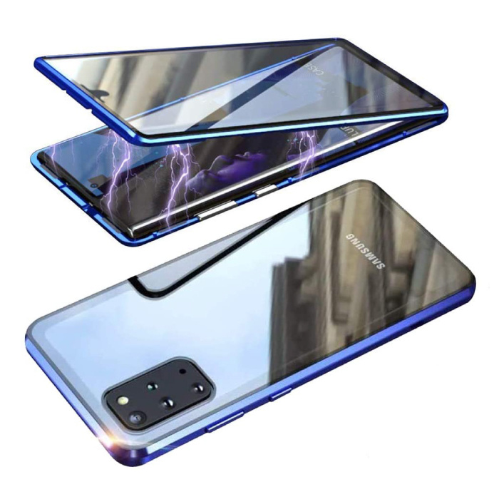 Samsung Galaxy S20 Ultra Magnetisch 360° Hoesje met Tempered Glass - Full Body Cover Hoesje + Screenprotector Blauw