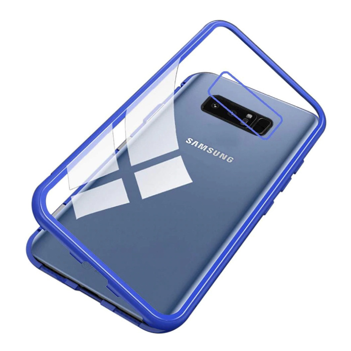 Samsung Galaxy Note 8 Magnetisch 360° Hoesje met Tempered Glass - Full Body Cover Hoesje + Screenprotector Blauw