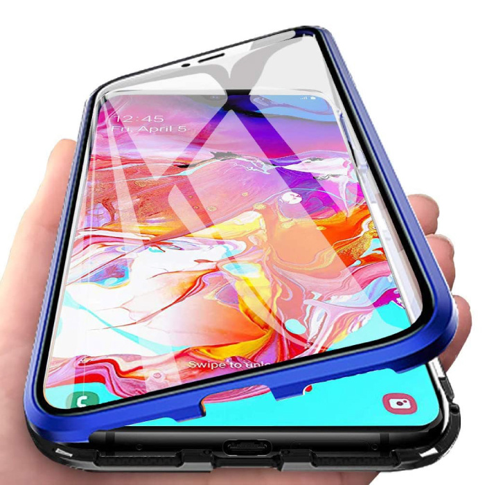 Samsung Galaxy A40 Magnetisch 360° Hoesje met Tempered Glass - Full Body Cover Hoesje + Screenprotector Blauw