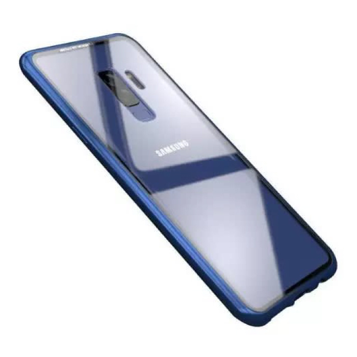 Samsung Galaxy A8 2018 Magnetisch 360° Hoesje met Tempered Glass - Full Body Cover Hoesje + Screenprotector Blauw