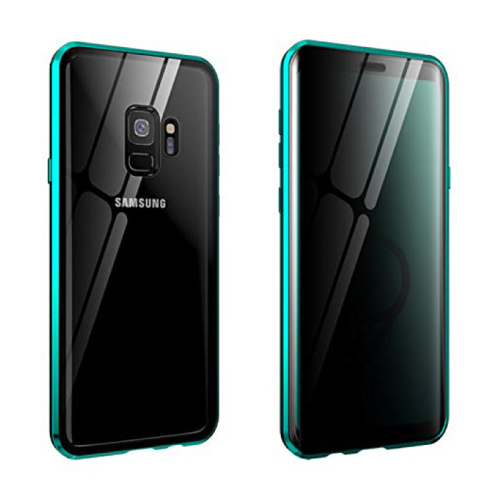 Samsung Galaxy A8 2018 Magnetisch 360° Hoesje met Tempered Glass - Full Body Cover Hoesje + Screenprotector Groen