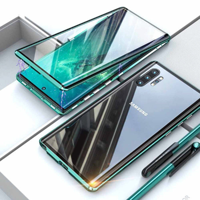 Samsung Galaxy Note 10 Plus Magnetisch 360° Hoesje met Tempered Glass - Full Body Cover Hoesje + Screenprotector Groen