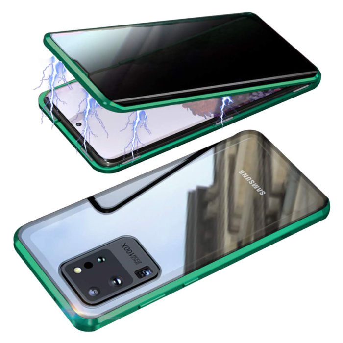 Samsung Galaxy S20 Ultra Magnetisch 360° Hoesje met Tempered Glass - Full Body Cover Hoesje + Screenprotector Groen
