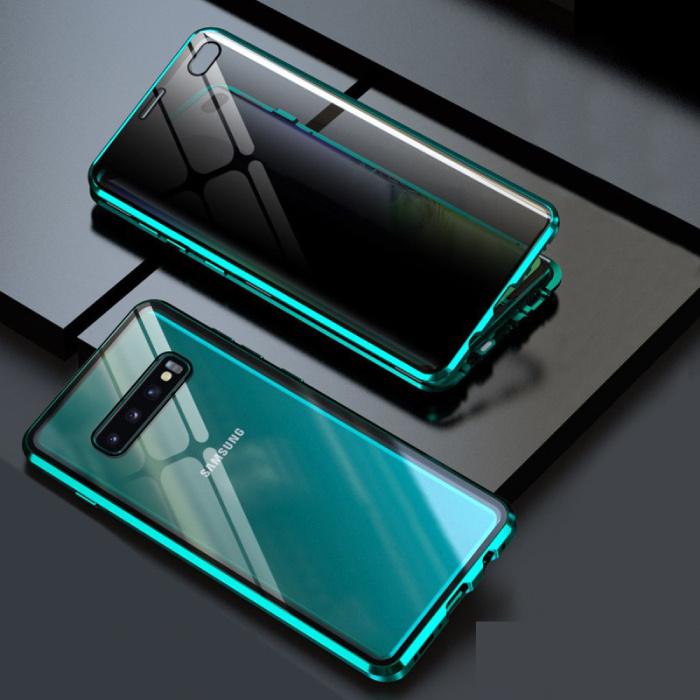 Coque Magnétique 360 ° Samsung Galaxy S10 avec Verre Trempé - Coque Intégrale + Protecteur d'Écran Vert