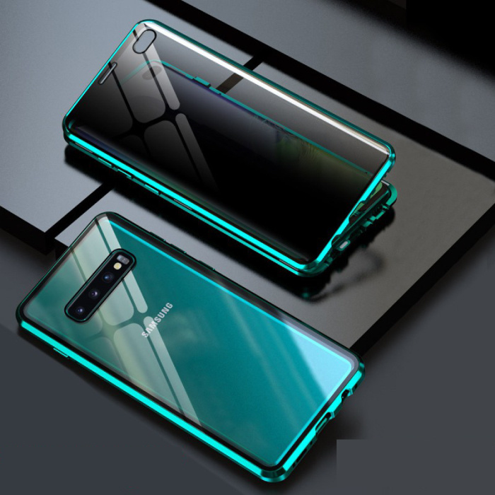 Samsung Galaxy S10 Plus Magnetisch 360° Hoesje met Tempered Glass - Full Body Cover Hoesje + Screenprotector Groen