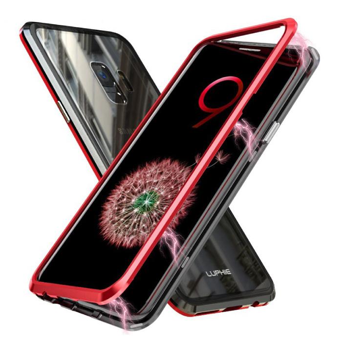 Coque Magnétique 360 ° Samsung Galaxy A8 Plus avec Verre Trempé - Coque Intégrale + Protecteur d'Écran Rouge