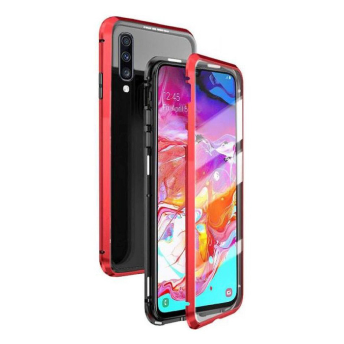 Samsung Galaxy A10 Magnetisch 360° Hoesje met Tempered Glass - Full Body Cover Hoesje + Screenprotector Rood