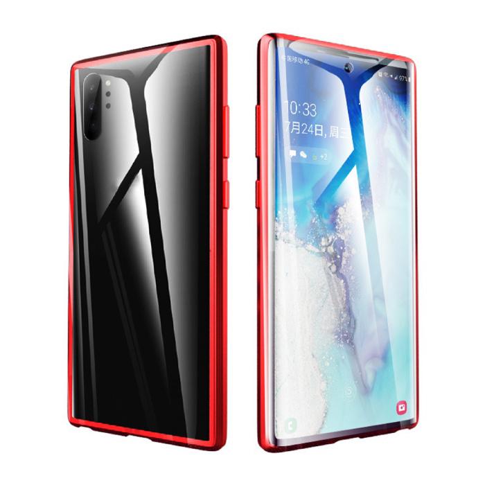 Coque Magnétique 360 ° Samsung Galaxy Note 10 avec Verre Trempé - Coque Intégrale + Protecteur d'Écran Rouge