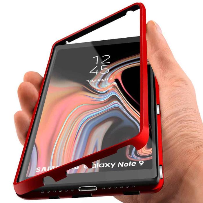 Coque Magnétique 360 ° Samsung Galaxy Note 8 avec Verre Trempé - Coque Intégrale + Protecteur d'Écran Rouge