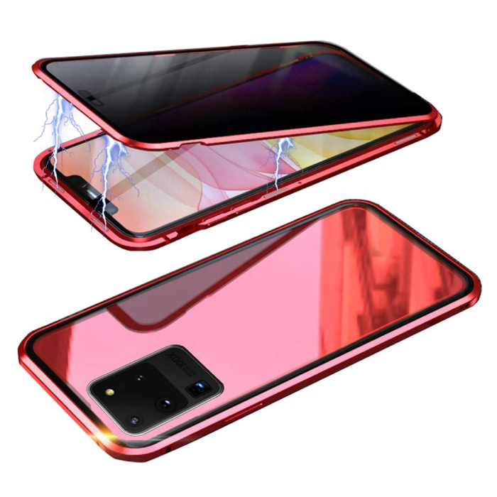 Samsung Galaxy S20 Ultra Magnetisch 360° Hoesje met Tempered Glass - Full Body Cover Hoesje + Screenprotector Rood