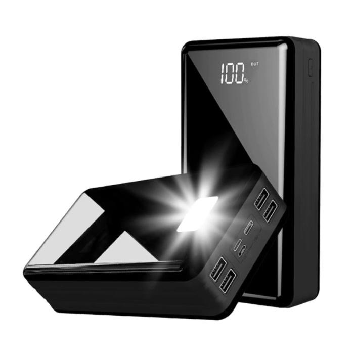 Powerbank 80 000mAh avec 4 ports - Lampe de poche intégrée - Chargeur de batterie externe de secours noir