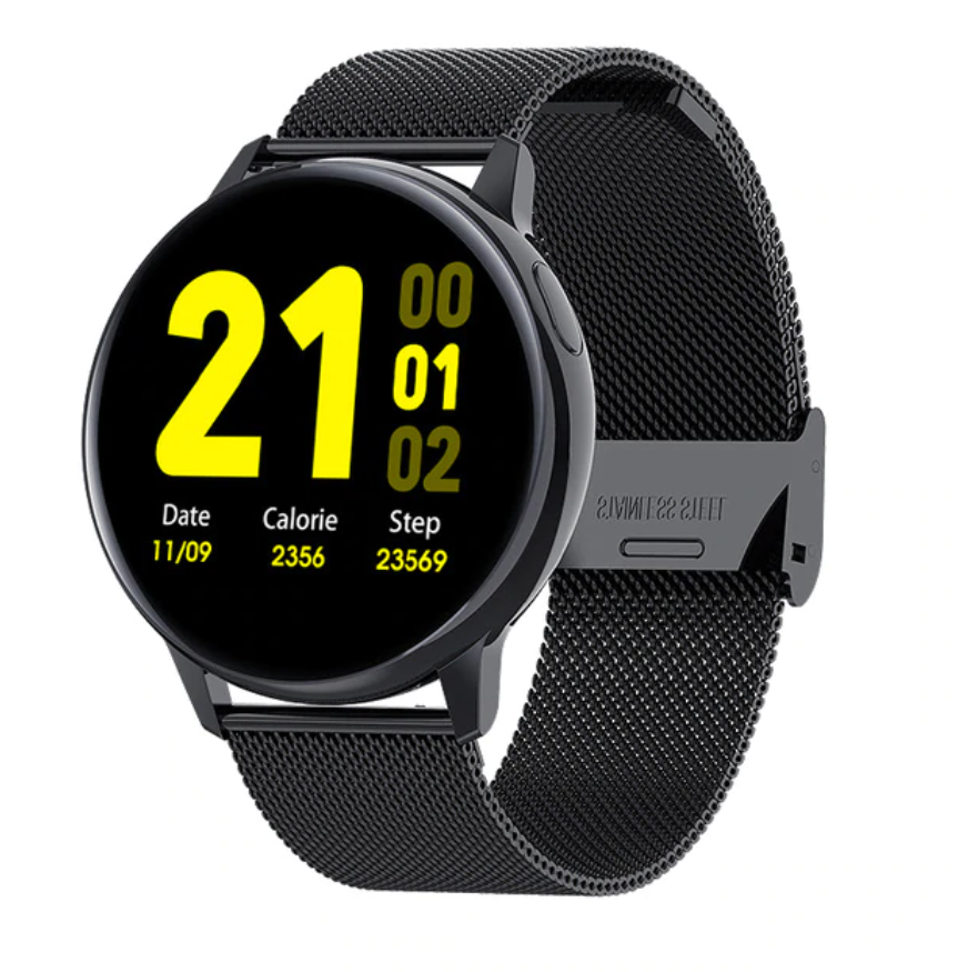 Sport Smartwatch Smartband Smartphone Fitness Activity Tracker Horloge iOS / Android Zwart Staal