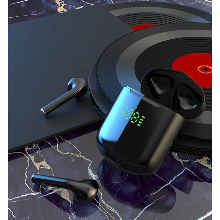 Écouteurs Bluetooth sans fil - Écouteurs True Touch Control Écouteurs TWS - Chargement sans fil Qi - Noir
