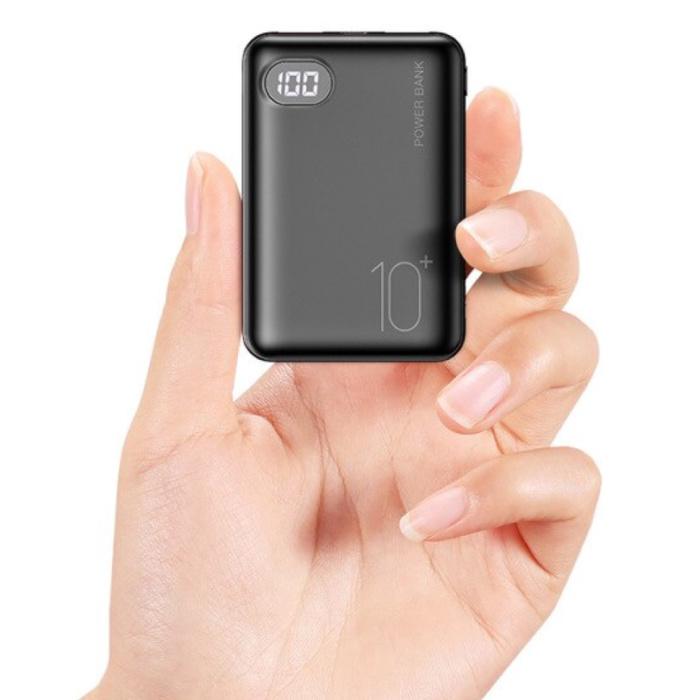 Mini batterie externe 10000mAh avec 2 ports - Chargeur de batterie externe de secours noir