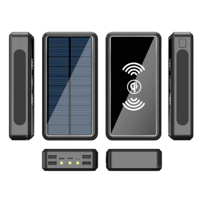Batterie externe solaire sans fil Qi avec 4 ports 80 000mAh - Lampe de poche intégrée - Chargeur de batterie externe de secours noir
