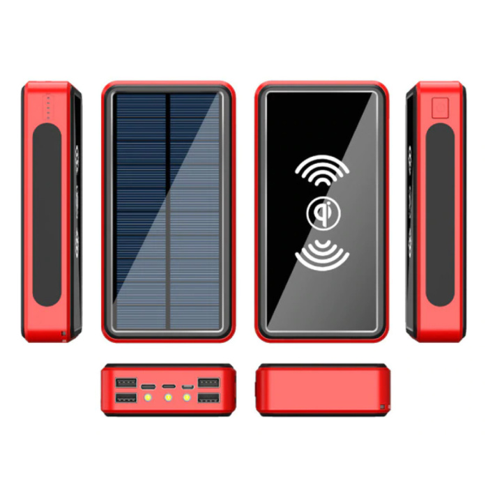 Qi Wireless Solar Power Bank with 4 Ports 80,000mAh - Built-in Flashlight - External Emergency Battery Charger Charger Red